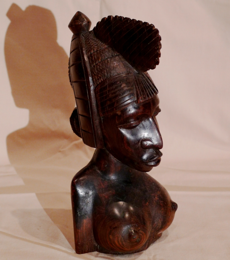 Скульптура, бюст, из черного дерева, Мали